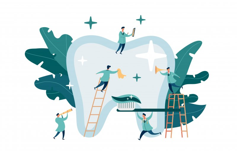 Diagram showing dentists clean a giant tooth